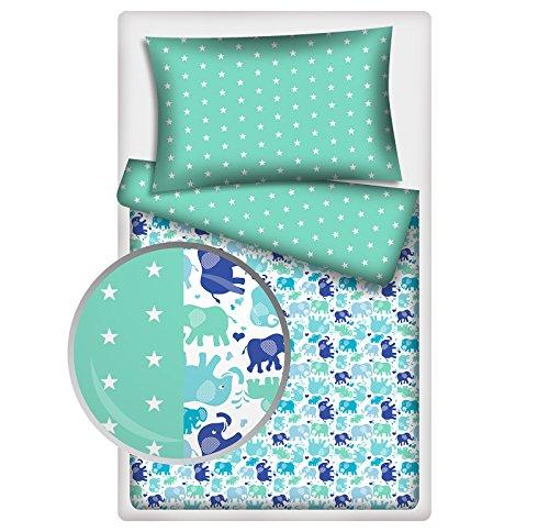 Kinderbettwäsche viele Designs 2-tlg. 100% Baumwolle 40x60 + 100x135 cm mit Reißverschluss (Elefanten-Sterne)