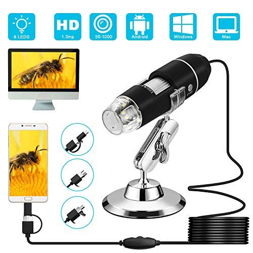 Microware 3 in 1 50 to 1000x Magnification USB Digital Microscope, Endoscope with 2.0MP Camera 8 LEDs Stand Holder for Android Phone Tablet, Windows and MacBook OS Computer (Black)