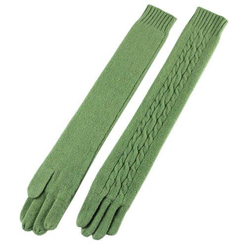 WARMEN Winter Warmer Wollen Knit Ohne Finger Lange Handschuh für Mädchen (Nylon Grün Handschuhe Lange)