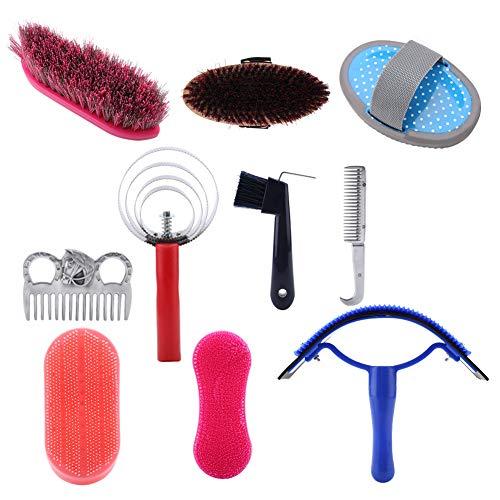 Pferdepflege-Kit - Pflege-Kit für Pferdereinigung, Equestrain-Bürsten-Curry-Kamm, Reinigungswerkzeug-Set für Pferde, 10 Stücke -