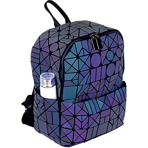 TASLAR Fashion Geometric Backpack Holographic Reflective Luminous Zipper College Travel Bag Backpacks for Women, Girls