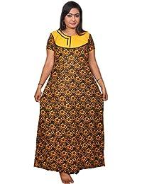 AISNIGHA Womens black and yellow Print Cotton Nighty a deep 5066