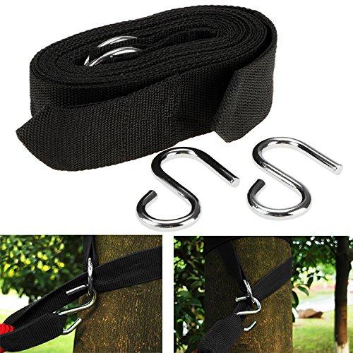 Groten Befestigung für Hängematte neue schwarze feste Hängematte 2PCs Baum Riemen breiten Nylon