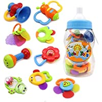 Rattle Teether Set Baby Toy - Wishtime 9pcs Rattle Teether Newborn Toys with Giant Bottle Gift for Baby, Infant, Newborn