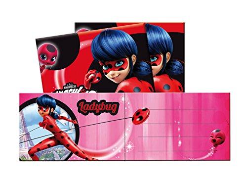 (Generique - Ladybug-Lizenzprodukt Einladungskarten 6 Stück Pink-Schwarz)