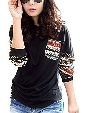 Minetom Mujer Camisa Manga Larga Azulejo Patrón Cuello Redondo Suéter Casual Tops Blusa