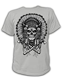 Artdiktat T-Shirt Camiseta para hombre - INDIAN HEADRESS WITH SKULL - Native American - Ethnic Cultures