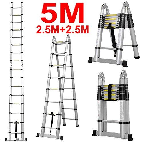 J&A DIY Doppelte Teleskopische Faltbare Leiter, 5,0 M Ausdehnbare Bewegliche Mehrzweckleiter Des Aluminiums, Schritt 2 * 8 Mit Anti-Beleg (Belastbarkeit 150kg/330 Lbs)