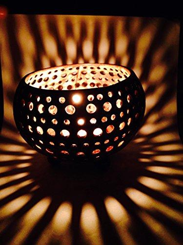 Carcasa de fibra de coco y portavelas para vela de té de flor de Pascua y vela hecho a mano con puntas para el hogar, habitación, diseño cilíndrico, party decor
