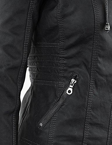 Qingxian Damen Frauen Faux Lederjacke Kurze Reißverschluss mit Kapuze Einfarbig Langarm Kapuzenpullover,Schwarz,X-Small - 6