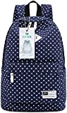 """S-ZONE Lightweight Casual Daypack Canvas Polka Dot Backpack 14""""-15"""" Laptop PC School Bag for Teenage Girls"""