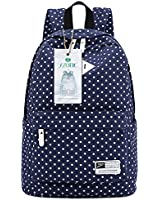 "S-ZONE Lightweight Polka Dot Canvas Backpack 13""-15"" Laptop PC School Bag for Teenage Girls"