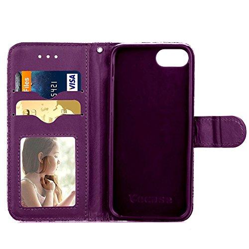 iPhone Case Cover Cas de l'iPhone 7, Case pretective motif léopard Impression couleur peinture Case PU cuir avec fonction Stand Wallet pour Apple iPhone7 4,7 pouces ( Color : 2 , Size : Iphone 7 ) 5