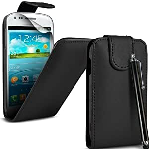 Samsung Galaxy Fame S6810 Black PU Leather Flip Case + Screen Protector + Polishing Cloth & Touch Screen Stylus By Connect Zone®