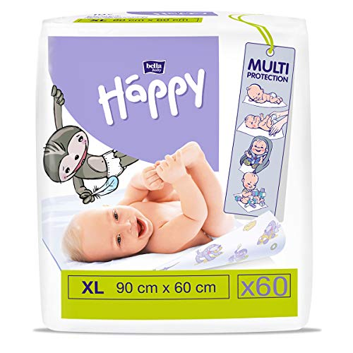 bella baby Happy Wickelunterlagen: Baby Wickelunterlagen für unterwegs XL 90 x 60 cm im 6er Pack (6 x 10 Stück) - wasserdicht und hygienisch