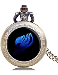 Lepakshi Hot Japanese Fairy Tail Animation Extension Theme Cool Bronze Glass Dome Pocket Watch With