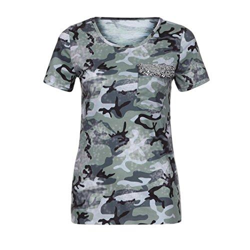 SEWORLD Damen Sommer Mode Frauen Gedruckt O-Ausschnit Kurzarm Camo Tasche Beiläufig Bluse Top T-Shirt(Grün,EU-38/CN-L) (T-shirt Camo Frauen Herz)