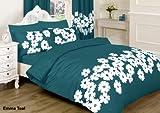 comprar 4piezas o 8Piezas impresas conjuntos de juego de ropa de cama/edredones/edredón conjuntos con cortinas a juego y sábanas bajeras. _ _ _ _ _ _ _ Emma Teal, algodón mixto, Turquesa, Double 4 Pieces Set