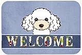 "Caroline's Treasures BB1443CMT Poodle Welcome Kitchen or Bath Mat, 20 by 30"", Multicolor"
