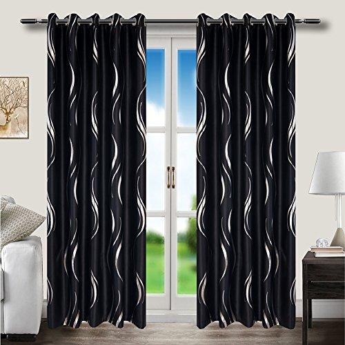 myru 2er-Set Tülle Oben, Dickes Gewebe, Schwarz und Silber Gestreift Blackout Vorhänge für Wohnzimmer Schlafzimmer (230 * 140) (Silber-schlafzimmer-vorhang-set)