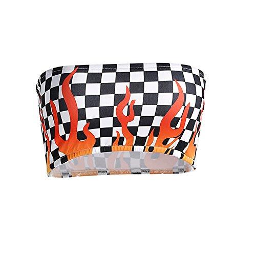 iYmitz Sommer Mode Bluse Damen Flamme Drucken Tanktops Hals abschneidenc Tops Weste Halter Gitter Plaid Sporttop T-Shirts Trägershirts(Schwarz,EU-36/CN-M)