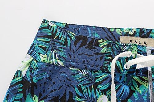 SSLR Damen Stretch schnell Trocken Tropisch Casual Hawaii Aloha Strand Board Shorts Schwarz
