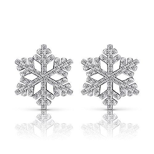 Sterling Silber-Schneeflocke Ohrringe Zirkonia 925 Silber Ohr Eearring Winter-Schneeflocke-Blumen-elegante Bolzen-Ohrringe löschen