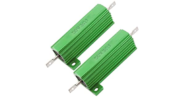 sourcing map 25W 10k Ohm 5/% Aluminum Housing Resistor Screw Tap Chassis Mounted Aluminum Case Wirewound Resistor Load Resistors Green 2 pcs