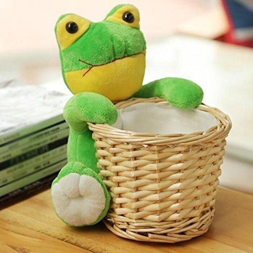 Panier de rangement Frog Shape Key Collection Panier Desktop Storage Box Weave The Basket Collection De Rattan Willow Pencil Tube Rollsnownow