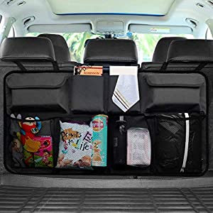 UEOTO Car Boot Organiser, Car Back Seat Storage Bag Trunk Organizer with Washable Oxford for SUV Truck Van, Foldable Car Boot Tidy Organiser with Magic Sticker for Space Saving Black