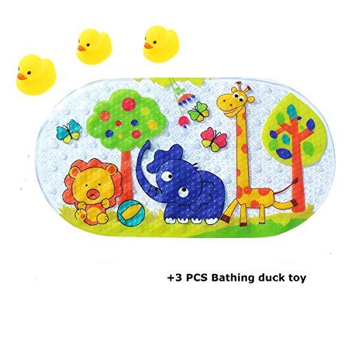 Badematte , PVC Anti-Bakterien Anti-Rutsch-resistente Badewannenmatte mit Saugnäpfen/ Niedliches Cartoon-Muster Badewannenmatte für Kinder Baby (Tiere)