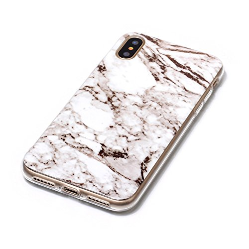 inShang iPhone X 5.8inch custodia cover del cellulare, Anti Slip, ultra sottile e leggero, custodia morbido realizzata in materiale del TPU, frosted shell , conveniente cell phone case per iPhone X 5. White marble