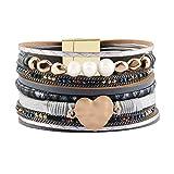 JOYMIAO Femmes Bracelet en Cuir À La Main Corde Emballage Bracelets Charme Coeur Bracelet Bijoux pour Filles Cadeau De Noël (Gris)