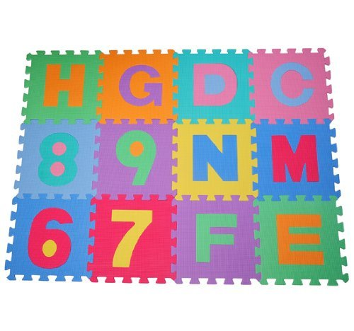 Alfombra puzle 192x192 cm Niños 3 años 36 piezas Numeros 0 al 9 y 26