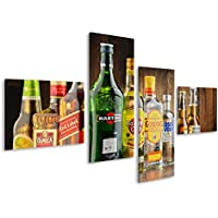 Cuadro Cuadros Varias botellas de licor de cerveza Whisky Bar Impresión sobre lienzo - Formato Grande