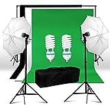 BPS Kit de Photo Studio 2 Parapluies d'Eclairage avec 2 Monture Universelle total 1250W E27 5500K Ampoules et COTON 2.8x1.8m Kit Fond (Noir blanc vert) Photo Support System de Fond wt 1xSac de Transport pour Studio Photo