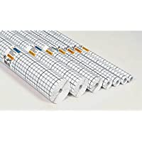 Herma 7002 Selbstklebende Buchschutzfolie (2 m x 40 cm, transparent glänzend) 1 Rolle, Gitterlinien, reißfest, für dauerhaftes Einbinden