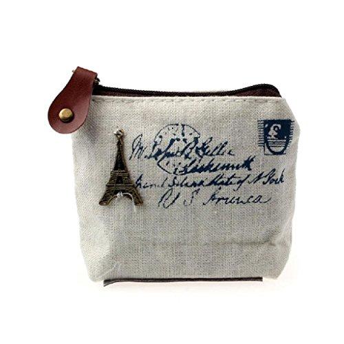 Internet Femmes Filles Toile Rétro sac à Pièce sac à main pochette carte affaire à main 10.5cmX8cmX3.5cm (Blanc)