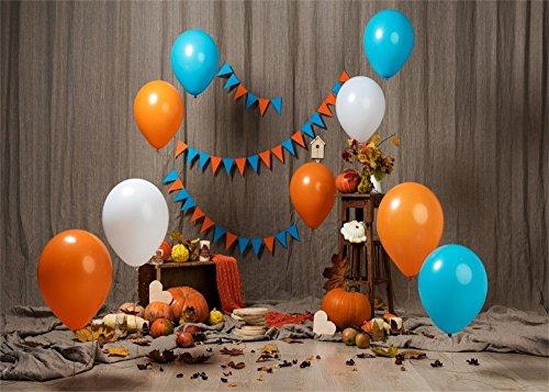 yongfoto 2,2x 1,5m Happy 1st Birthday Hintergrund Colorful Luftballons Banner Kürbis Shabby Vorhang Innen Hintergründe für die Fotografie Herbst Party decoraation Vinyl Foto Hintergrund Jungen Mädchen Studio Requisiten