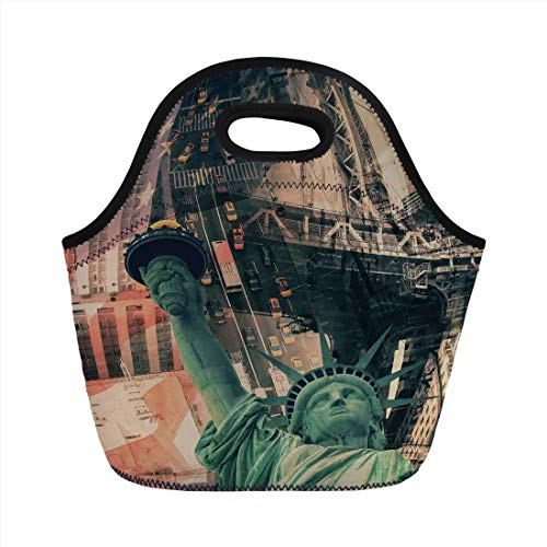 Jieaiuoo Portable Lunch Bag,American,New York City Street Scenery Liberty Statue and USA Flag Freedom Torch Illustration,Red Grey,for Kids Adult Thermal Insulated Tote Bags - Statue Of Liberty-new York