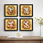SAF Ganesha Religious Set of 4 UV Textured Painting (19 x 19 Inches, SAF_SET4_1)