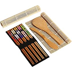 Sushi Making Kit–9Pezzi, Coperchio in bambù, Include 5x Bacchette, 2x Sushi Rolling Mats, 1x Rice Paddle, 1x Rice Spreader |100% Bamboo Sushi tappeti e Utensili.