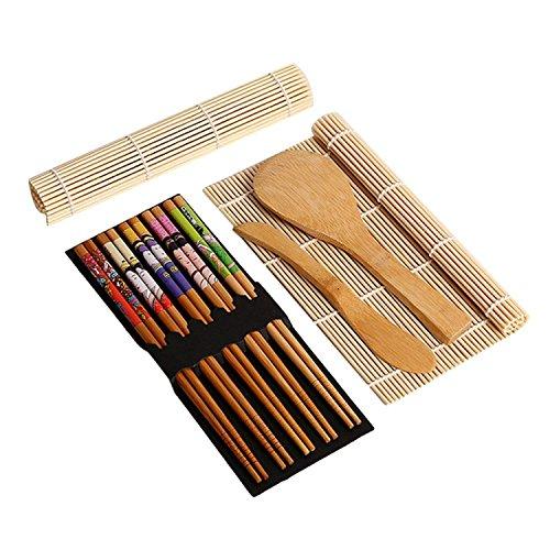Sushi-Set, harter Bambus, inkl. 5 Essstäbchen, 2 Sushi-Rollmatte, 1 Reispadel, 1 Reisverteiler, 100 % Bambus-Sushi-Matten und Utensilien, inklusive Ebook zur Herstellung von Sushi (evtl. nicht in deutscher Sprache), 9-teilig