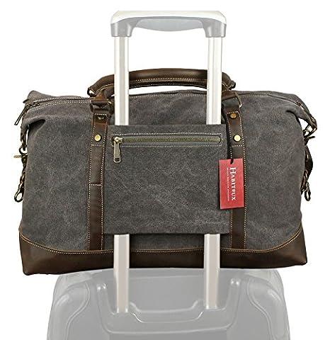 Weekender sac à bandoulière toile sac en cuir véritable voyage sac fourre-tout