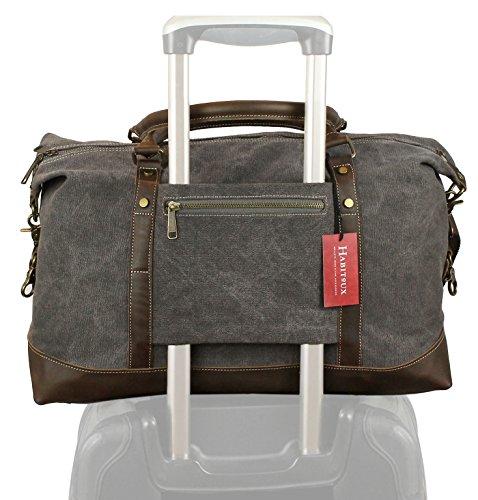 Safari Weekender (Leder Canvas Weekender Duffel Tasche - Reisetasche Holdall (Grau))