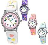 Pure Time® Einhorn Unicorn Kinder-Uhr Mädchen-Uhr Kinder Armband-Uhr Pferd Pony Tier Silikon Armband Mädchen Uhr Kinderuhr Weiß Rosa Lila Türkis Gelb Lern-Uhr Schul-Uhr 3D
