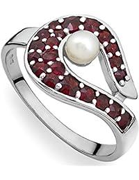 144a7268b56c Verdster Anillo De Granate para Mujer Hechos A Mano con 21 Piedras Preciosas  De Granate Checo   Perla - Plata…