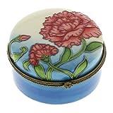 Red Flower Pattern Ceramic Trinket Box