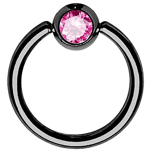 Piersando BCR Piercing Ring Universal Klemmring mit Zirkonia Kristall Klemm Kugel für Septum Brust Tragus Helix Nase Lippe Ohr Intim Nippel Chirurgenstahl Schwarz Pink 1,2mm x 10mm x 4mm