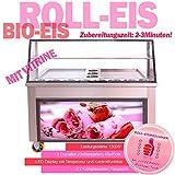 Gastro Eiscreme Maschine mit 2 Eisplatten für Roll-Eis, Bio-Eis Zubereitung. Fried ICE Cream Rolls Machine